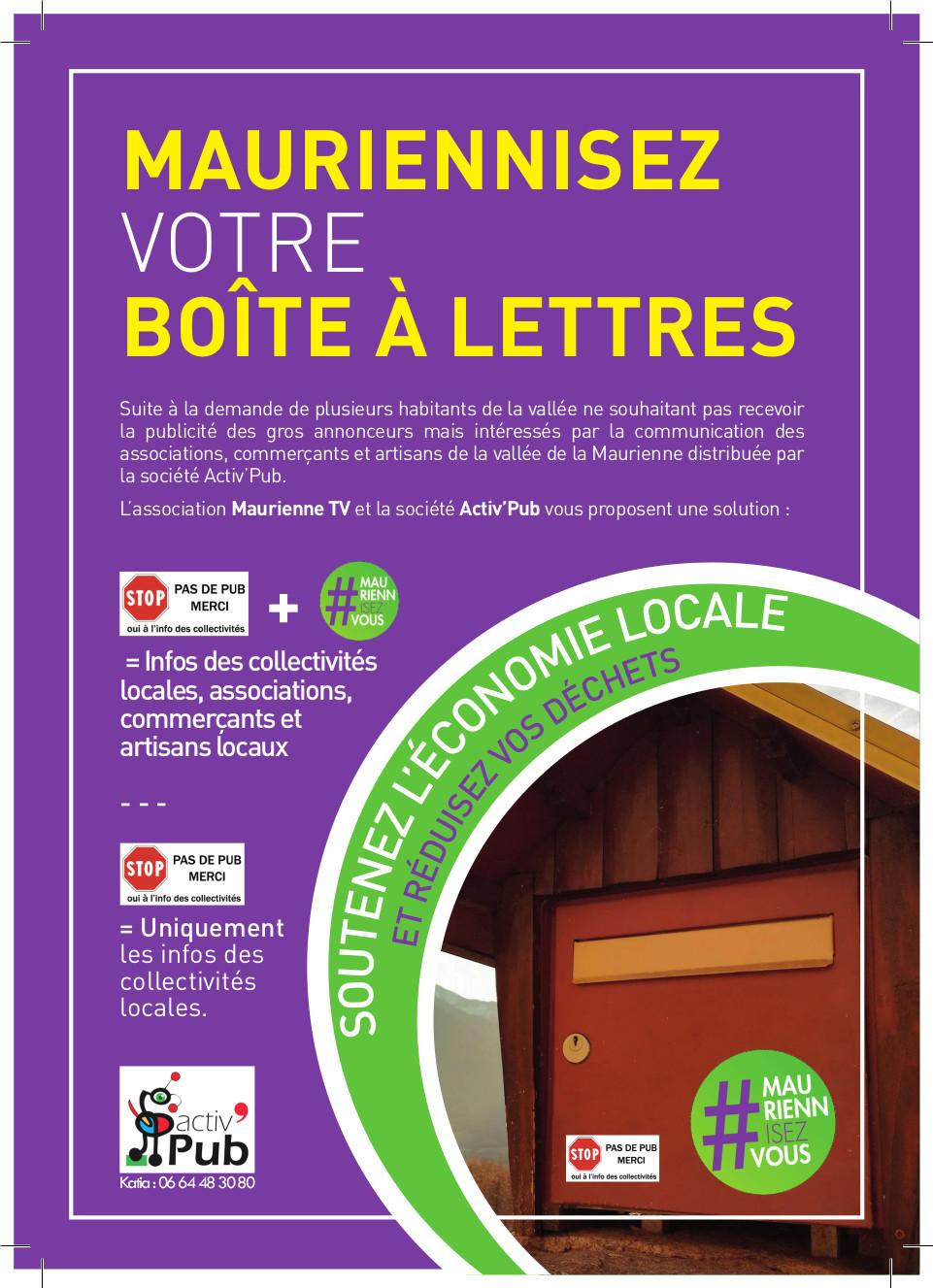 Distribution d'autocollants #mauriennisezvous pour toutes les boites à lettres de la vallée de la Maurienne